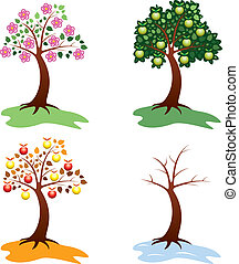 set of apple trees - vector set of apple trees