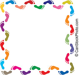 colorful footprints border - vector illustration of colorful...
