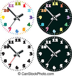 set of colorful clocks