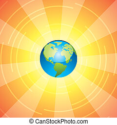 earth and sun rays - vector illustration of earth and sun...