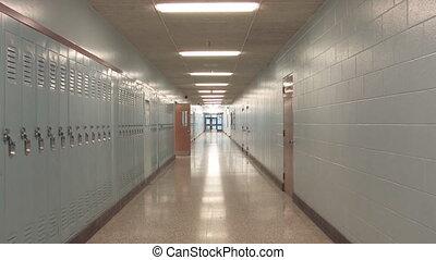 Highschool hallway 2. Slow zoom.