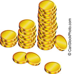 golden coins - vector group of golden coins