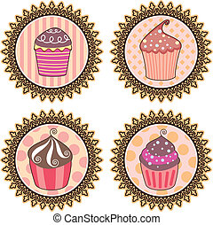 retro cupcakes - vector set of retro cupcakes