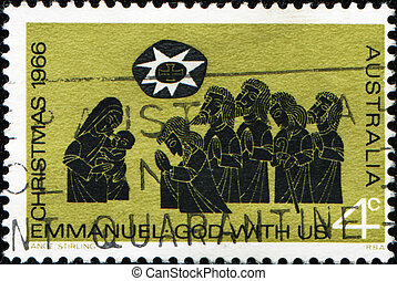 Adoration of the Shepherds - AUSTRALIA - CIRCA 1966: A stamp...