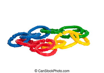chainlet - toy chain (green, yellow, red, blue) in white...
