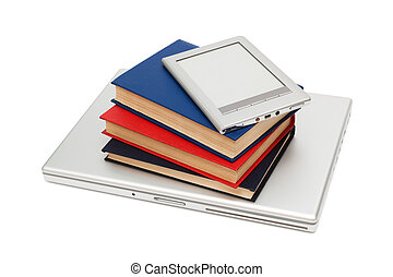 reader, laptop and books on a white background