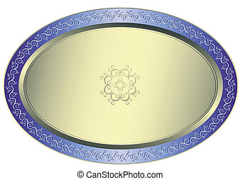 Silvery oval plate with floral ornament on white background...