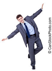 Young business man flying