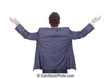 business man back, praying