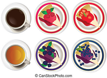 Cakes and hot drinks - Vector set of cakes and hot drinks