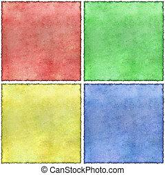 Old coloured burned edges parchment sheets