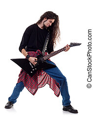 heavy metal guitarist playing the guitar isolated over white...