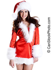 beautiful woman wearing santa claus clothes on a white...