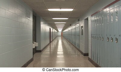 Highschool hallway. Slow zoom.