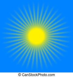Yellow sun rays - Sun shines with warm rays