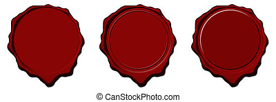 Red wax empty seals - Empty red wax seals used to sign and...