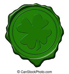 Shamrock green wax seal - Green saint patrick's shamrock wax...
