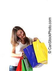 young women while shopping.