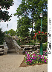 Steps Through Formal Gardens - Stone steps though a formal...