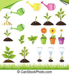 Green Set - Sprouts, Watering ?ans, Sand-glass And Flowers...