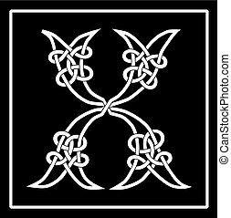 Celtic Knot-work Capital Letter X - Vector of a Celtic...