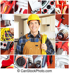 electrician - Handsome electrician in yellow uniform
