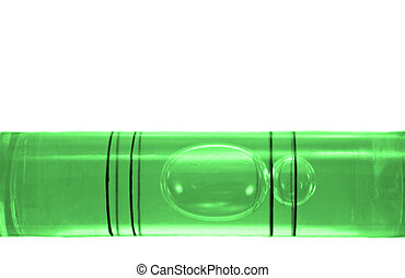 Level - Close up on a the bubble of a green spirit level...
