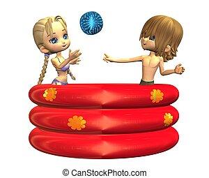 Toon kids in a paddling pool