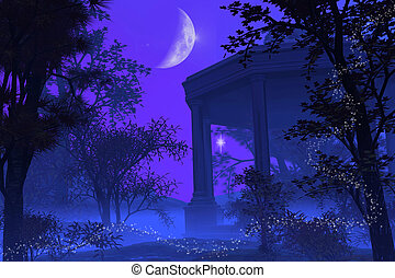 Temple of Diana in the Moonlight - Roman or Greek temple in...