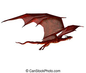 Red Dragon Flying - Red dragon flying, 3d digitally rendered...
