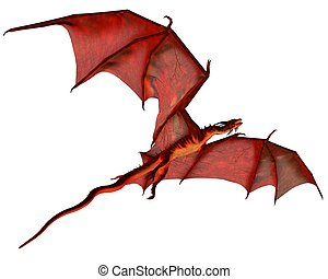 Red Dragon Gliding - Red dragon gliding, 3d digitally...