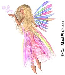 Fairy Bubbles - Pretty fairy blowing bubbles, 3d digitally...