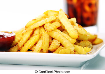 Potato fry with ketchup and cola drink