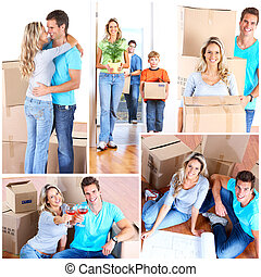 Moving - Young happy family moving into their new home