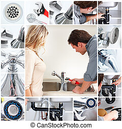 Plumber - Young plumber fixing a sink