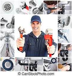 Plumber - Smiling handsome plumber with an adjustable wrench...