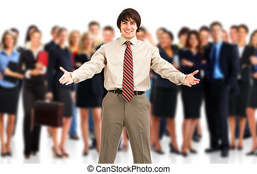 Business people - Businessman and a large group of young...