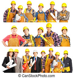 builders - Smiling builder people. Isolated over white...