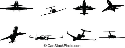 business aircraft - set of vector illustrated corporate...