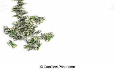 US dollar bundles flow, slow motion - US dollar bundles flow...