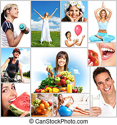 women   - Young smiling women  with fruits and vegetables