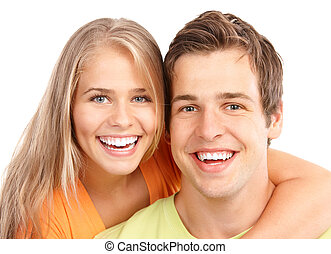 Young couple in love - Happy smiling couple in love Over...