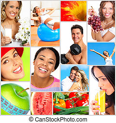 Healthy lifestyle. People, diet, healthy nutrition, fruits,...