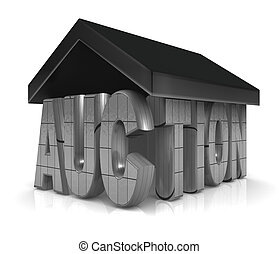 Auction Property Concept - Auction word with a roof property...