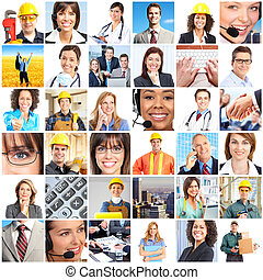 workers people - Set of smiling workers people