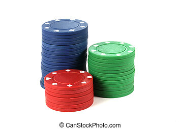 Stacked poker casino chips isolated on white background