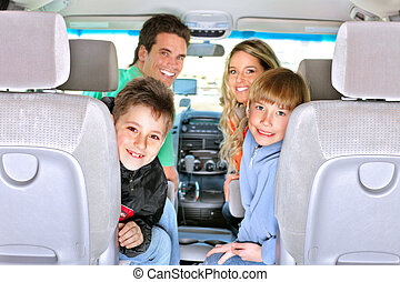 Family car - Smiling happy family in the car