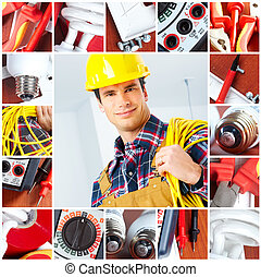 electrician - Young smiling builder electrician and set of...
