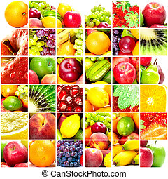 Fresh fruits: banana, orange, apple, grape, peach, lemon,...