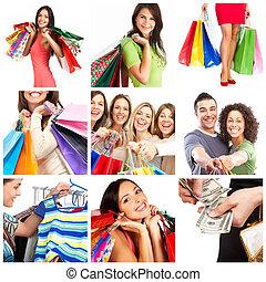 Shopping women - Happy smiling shopping women. Over white...